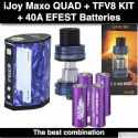 ijoy Maxo Quad 18650- 315 Watts, Blue + (4) batteries + TFV8 Big Baby Blue